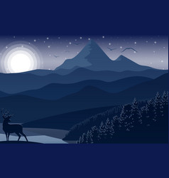 mountain landscape with deer and forest at night vector image