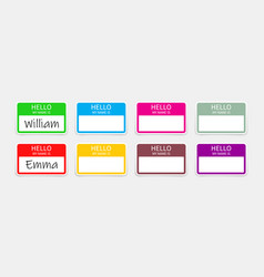 name badge tag hello sticker or card with my vector image