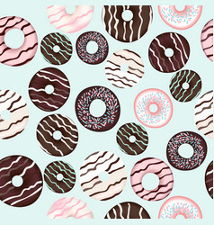 pattern with sweet brown chocolate donuts vector image