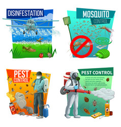 pest control icons disinsection service vector image