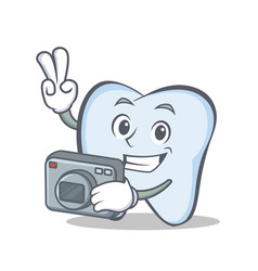 photography tooth character cartoon style vector image