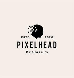 pixel head digital hipster vintage logo icon vector image