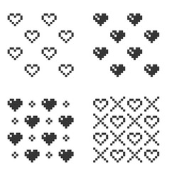 pixel heart seamless pattern set on white vector image