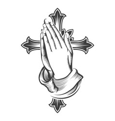praying hands and cross engraving tattoo vector image