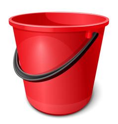 Red plastic empty bucket vector