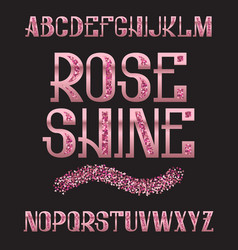 Rose shine typeface pink gold glittering font vector