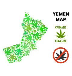 Royalty free marijuana leaves composition yemen vector