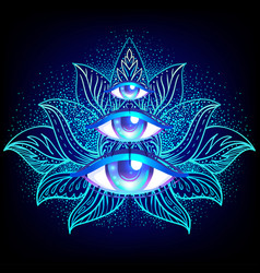sacred geometry symbol with all seeing eye over in vector image