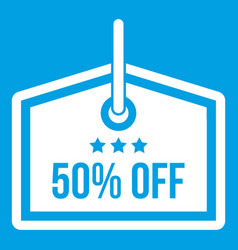 Sale tag 50 percent off icon white vector