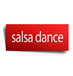 Salsa dance red square isolated paper sign on vector