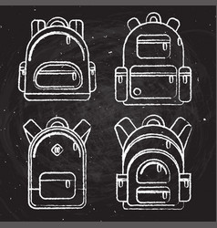 School backpacks set of white chalk sketched vector