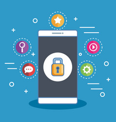 Secure shopping smartphone digital online vector