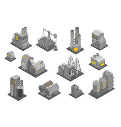 set factories plant isometry vector image