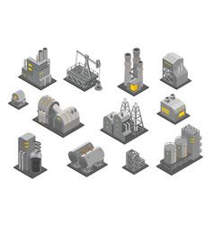 Set factories plant isometry vector