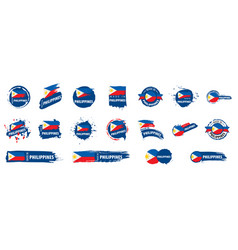 Set flags philippines on a white vector