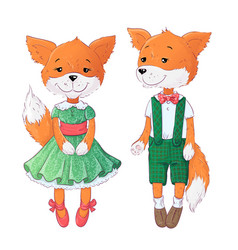 set fox and fox hand drawing vector image