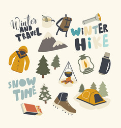 set icons winter hike theme backpack warm vector image