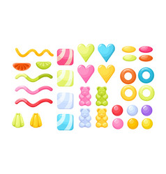 set of jelly candies gummy bears worms rings vector image