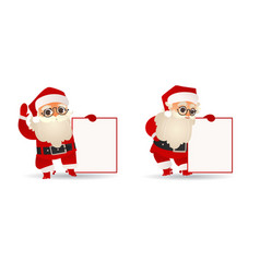 set of santa claus holding vector image