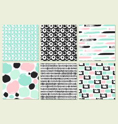 Set seamless pattern with brush strokes vector