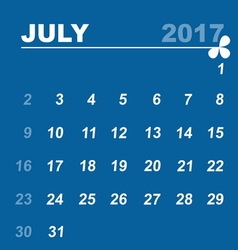 Simple calendar template of july 2017 vector image vector image