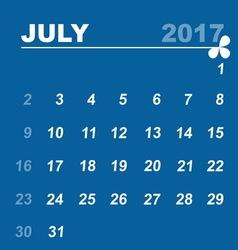 Simple calendar template of july 2017 vector