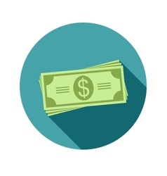 Stack of dollars Paper bills or money Icon in a vector image