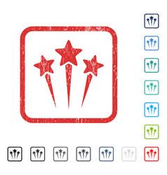 Star salute icon rubber watermark vector