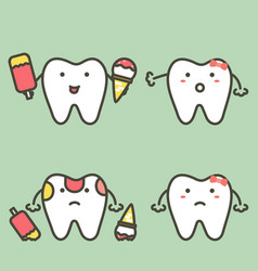 Step of caries or decay tooth from ice cream vector