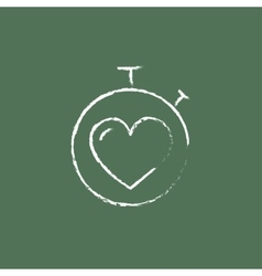 Stopwatch with heart icon drawn in chalk vector