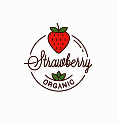 Strawberry logo round linear logo organic vector