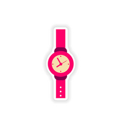 stylish paper sticker on white background watch vector image
