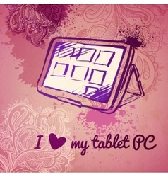 Tablet pc for a girl sketch on pink background vector
