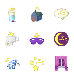 time to sleep icons set cartoon style vector image