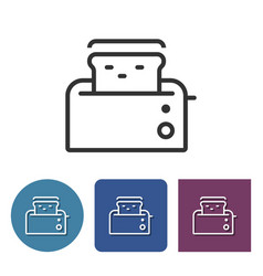 toaster line icon in different variants vector image