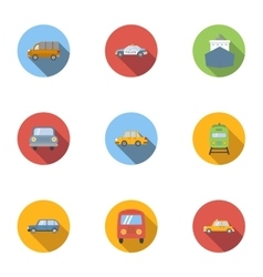 Transport icons set flat style vector