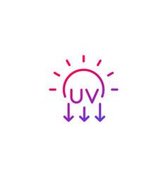 Uv radiation ultraviolet icon line vector