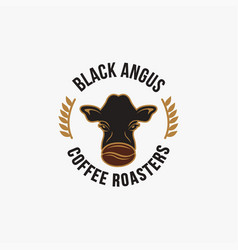 Vintage retro logo black angus cow and coffee vector