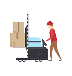 warehouse worker pushing trolley with boxes vector image vector image