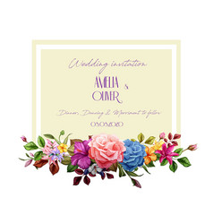 Watercolor lily rose flower wedding card vector