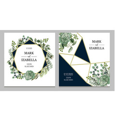 wedding invitation with leaves succulent a vector image