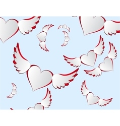 White hearts with wings flying in the sky vector image