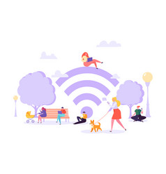 wi-fi in park with people using smartphone vector image
