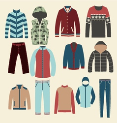 Winter clothes Group of Objects vector image