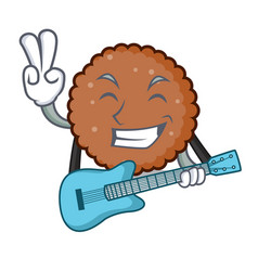 With guitar chocolate biscuit mascot cartoon vector
