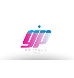 gp g p alphabet letter combination pink blue bold vector image vector image
