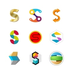 Letter S logo set Color icon templates design vector image