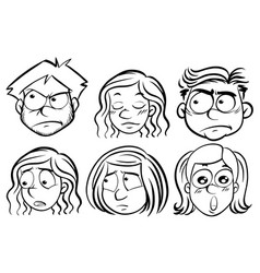 six people with different expressions vector image vector image