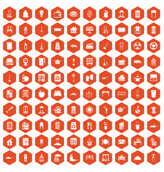 100 cleaning icons hexagon orange vector image vector image
