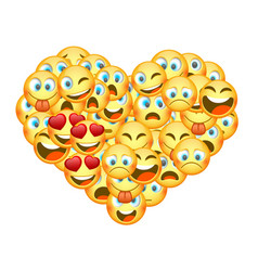 a set of emoticons shaped as heart vector image